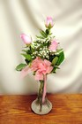 Pink Rose Triple Bud Vase