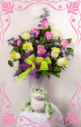 Lovely Lime and  Pink Rose Bouquet from Rick Anthony's Flower Shoppe in Lansing and Holt, MI