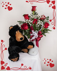 Half Dozen Red Roses & Honey Bear from Rick Anthony's Flower Shoppe in Lansing and Holt, MI