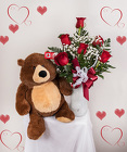 Half Dozen Red Roses & Sugar Bear from Rick Anthony's Flower Shoppe in Lansing and Holt, MI