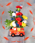 Patriotic  Fire Truck Arrangement from Rick Anthony's Flower Shoppe in Lansing and Holt, MI