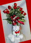 Dozen Premuim Red Roses and Bear from Rick Anthony's Flower Shoppe in Lansing and Holt, MI