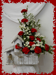Red Cardinal Bird House Bouquet from Rick Anthony's Flower Shoppe in Lansing and Holt, MI