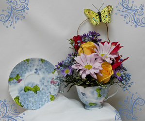 Blue Butterfly Teacup from Rick Anthony's Flower Shoppe in Lansing and Holt, MI