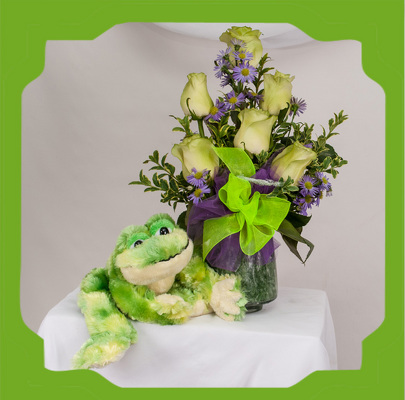 A Frogging Around Bouquet with Mr Fluffy Frog