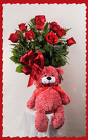 Dozen Red Roses and Romance Bear from Rick Anthony's Flower Shoppe in Lansing and Holt, MI