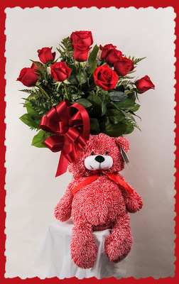 Dozen Red Roses and Romance Bear