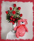 Half Dozen Roses and Romance Bear from Rick Anthony's Flower Shoppe in Lansing and Holt, MI
