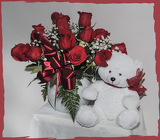 Dozen Red Roses and Bear from Rick Anthony's Flower Shoppe in Lansing and Holt, MI