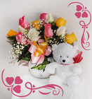 Dozen Assorted Roses and Bear (ROSE COLOR WILL VARY) from Rick Anthony's Flower Shoppe in Lansing and Holt, MI
