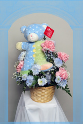 Babies Fun Plush Bouquet in blue from Rick Anthony's Flower Shoppe in Lansing and Holt, MI