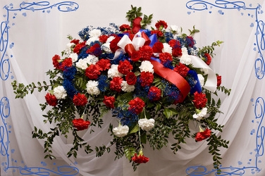 Red White and Blue Spray for the Casket from Rick Anthony's Flower Shoppe in Lansing and Holt, MI