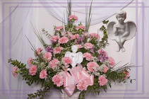 Bisque Angel in Pink Floral Tribute from Rick Anthony's Flower Shoppe in Lansing and Holt, MI