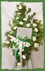 Spartan Fan Standing Spray With Memory stone from Rick Anthony's Flower Shoppe in Lansing and Holt, MI