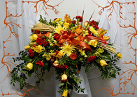 Fall Floral Casket Spray from Rick Anthony's Flower Shoppe in Lansing and Holt, MI