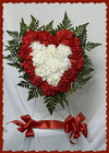 Red and White Easel Standing Heart from Rick Anthony's Flower Shoppe in Lansing and Holt, MI