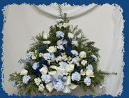 Blue and White Traditional Spray from Rick Anthony's Flower Shoppe in Lansing and Holt, MI