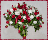 Red And White Casket Spray With Babies Breath from Rick Anthony's Flower Shoppe in Lansing and Holt, MI