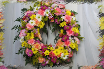 Funeral Wreath of Many Colors  from Rick Anthony's Flower Shoppe in Lansing and Holt, MI