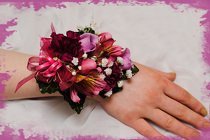Burgundy & Pink Wrist Corsage from Rick Anthony's Flower Shoppe in Lansing and Holt, MI