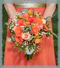 Peach, Orange And Pink Brides Bouquet from Rick Anthony's Flower Shoppe in Lansing and Holt, MI