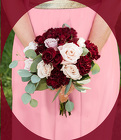 Burgundy and  Blush Pink Attendants Bouquet from Rick Anthony's Flower Shoppe in Lansing and Holt, MI