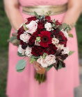 Burgundy and  Blush Pink Bridal Bouquet from Rick Anthony's Flower Shoppe in Lansing and Holt, MI
