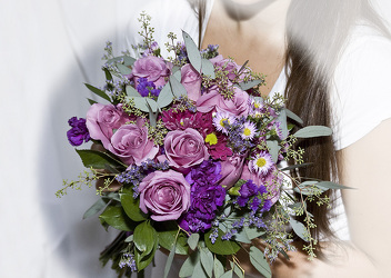Brides Clutch Bouquet In Lavender Shades from Rick Anthony's Flower Shoppe in Lansing and Holt, MI