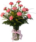 Dozen Carnations in a vase